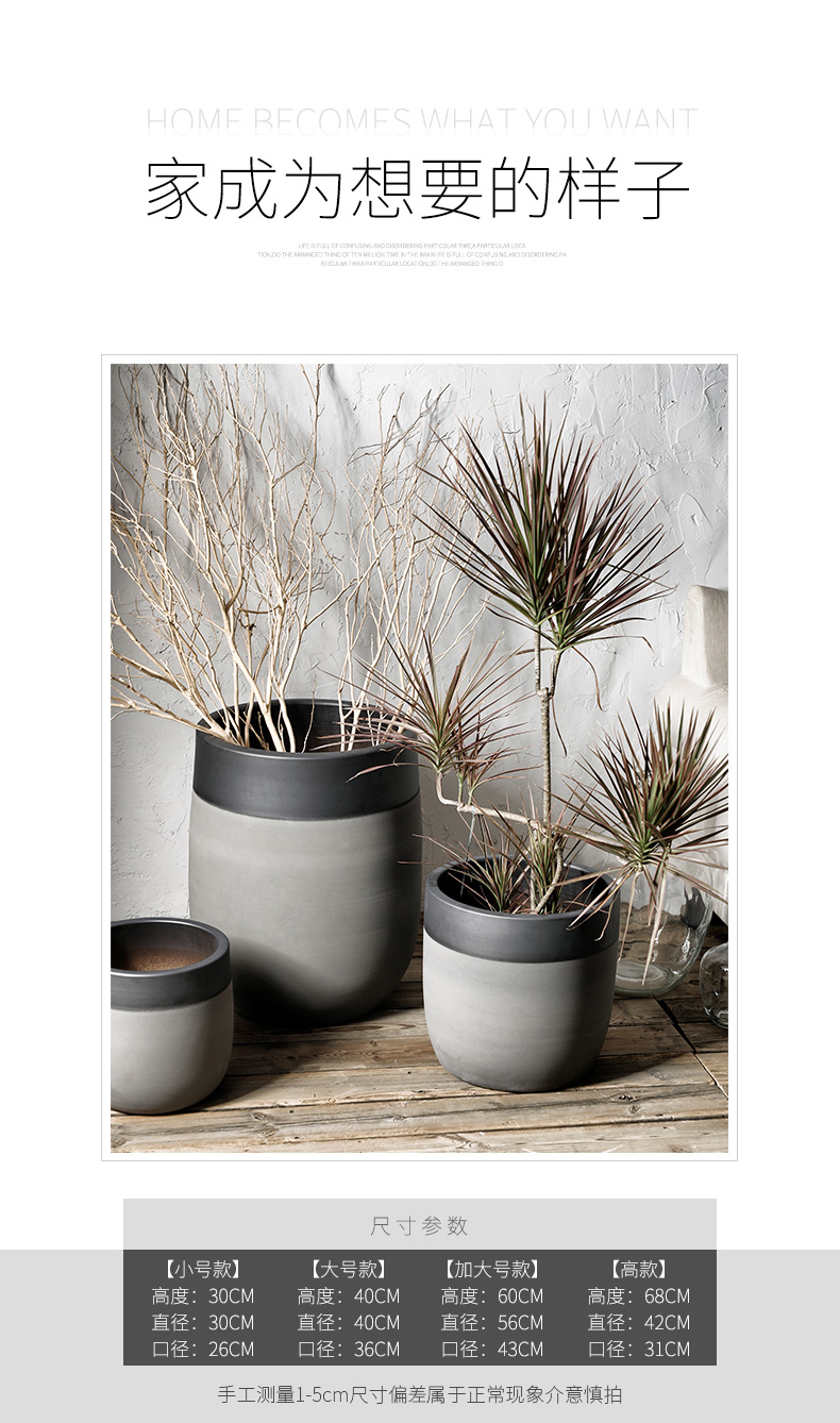 Royal three mud I and contracted large ceramic flower pot ins wind green plant landscape garden is suing living room bed