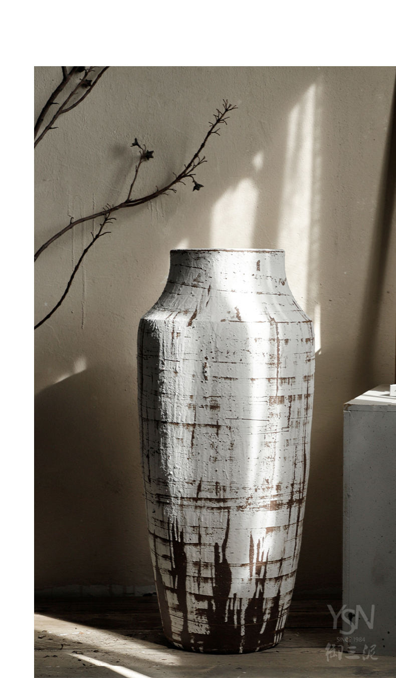 Royal three coarse pottery mud ground to restore ancient ways do old hotel a home stay facility ceramic flower vases scratches furnishing articles be born inside and outside