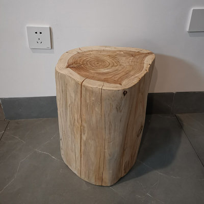 Natural wooden pier log wood stump solid wood bench tree shoe shoe stool wooden pile sitting stool wood design root carving stool