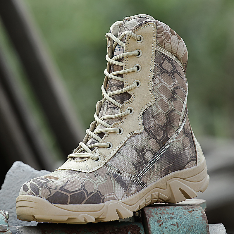 Shield lang outdoor sand Python camouflage military boots tactical boots  combat boots special forces desert boots 7acd30222de4