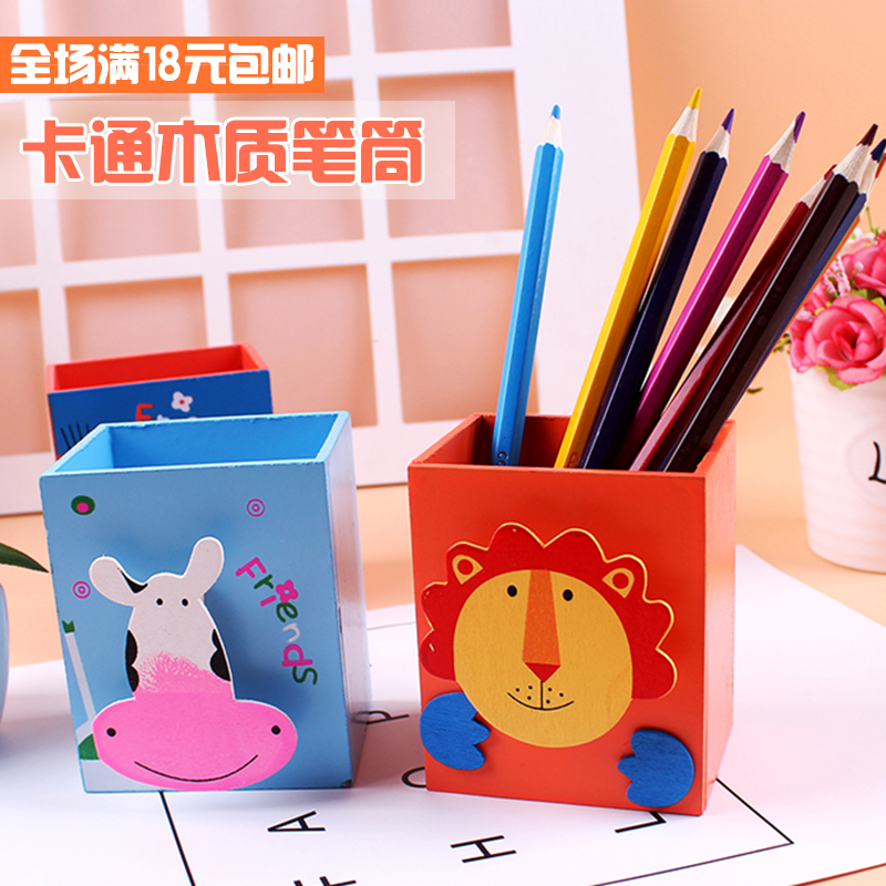 Korean Creative Stationery Wooden Cute Painted Animal Pen Holder With  Sticky Notes Clip Office Supplies