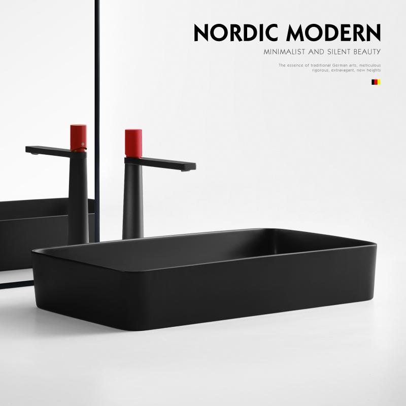北欧黑色台上盆长方形洗手盆家用台盆哑光磨砂陶瓷洗脸盆小阳台盆
