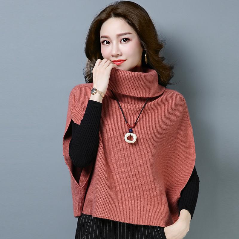 春秋短款高领蝙蝠衫2019针织韩版套头马甲毛衣女宽松无袖坎肩外套