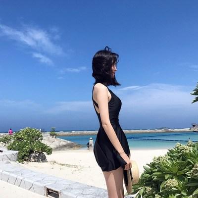 泳衣女2019新款裙式黑色性感显瘦遮肚保守连体泳衣女泡温泉游泳衣