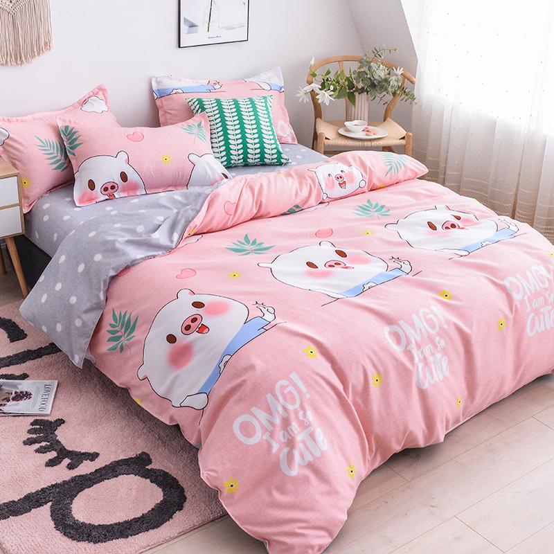 简约全棉四件套1.8m2.0米床单双人纯棉秋冬床上用品被套床单式