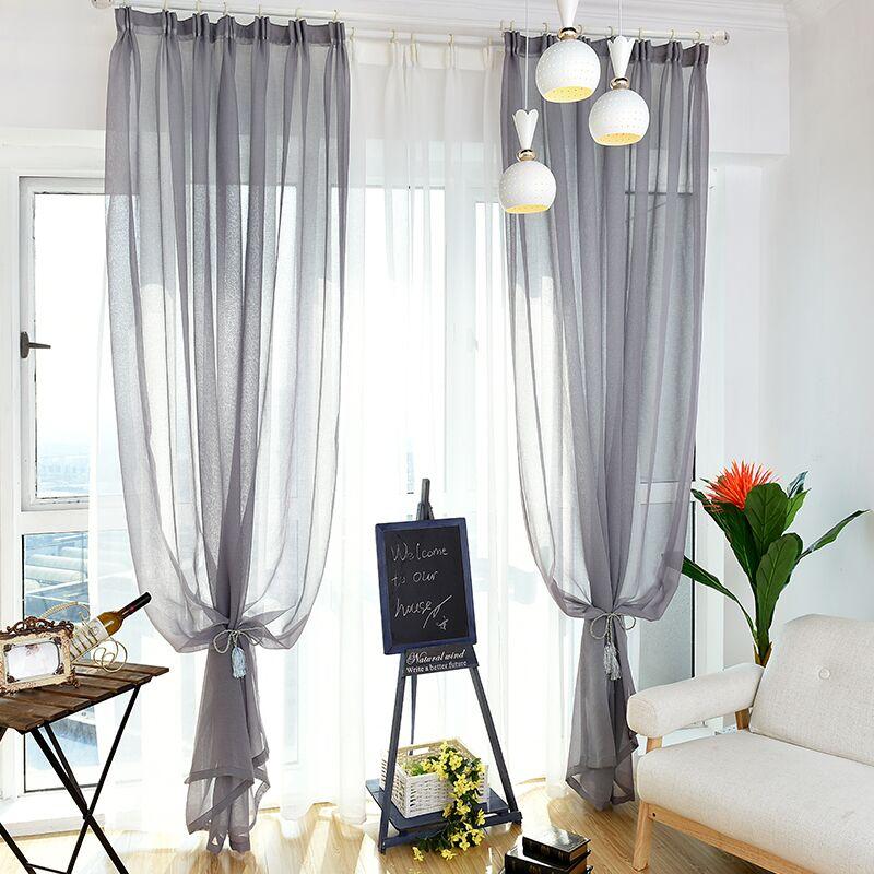 白纱窗帘透光纱帘窗纱网红装饰成品白色沙布料北欧简约阳台薄ins