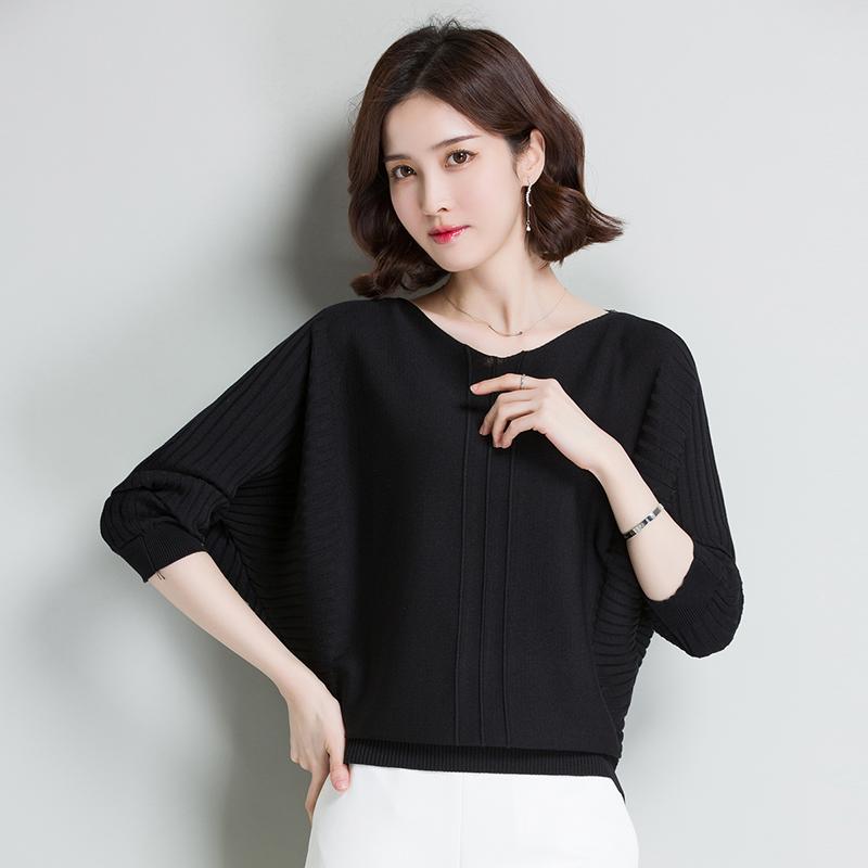 初春篇幅衫女2020春秋新款韩版短款宽松冰丝针织衫长袖蝙蝠衫上衣
