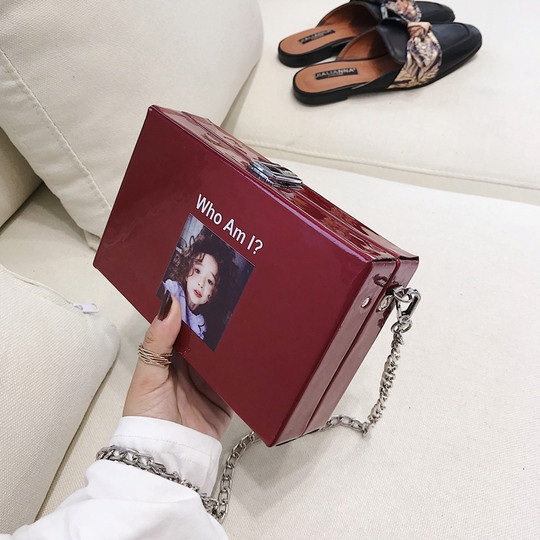 Patent leather small square bag female 2018 new tide ins super fire box box summer shoulder shoulder girl Messenger bag chain