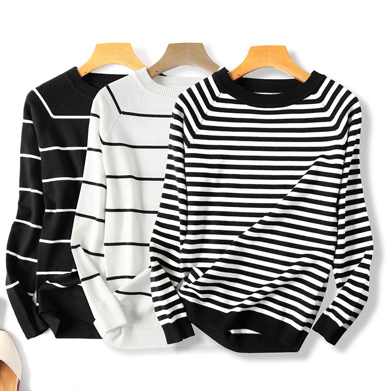 上衣条纹T恤女长袖薄款线衫ins超火的黑白打底新品春装毛衣针织衫