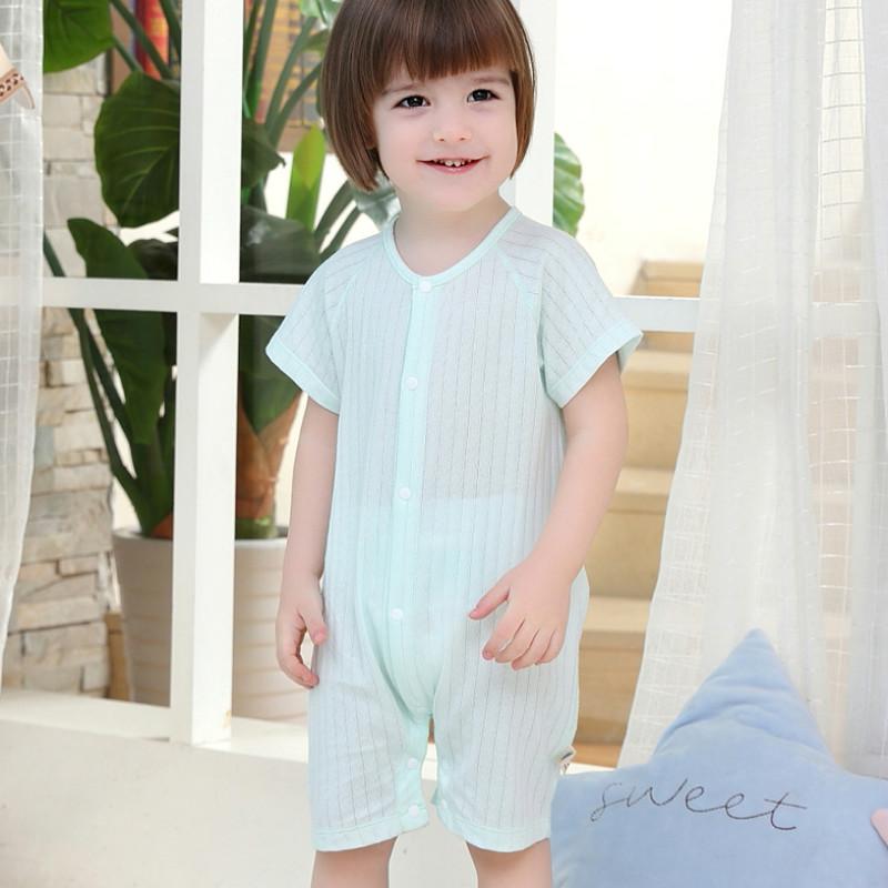 婴儿短袖连体衣纯棉宝宝夏装睡哈衣