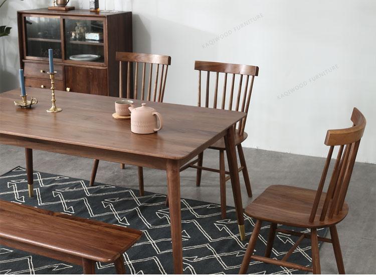 Bàn ăn gỗ óc chó đen Bắc Mỹ Bàn ăn Bắc Âu và ghế kết hợp Một bàn và sáu ghế Đồ nội thất bằng gỗ rắn màu đen Óc chó Bắc Mỹ - Bàn