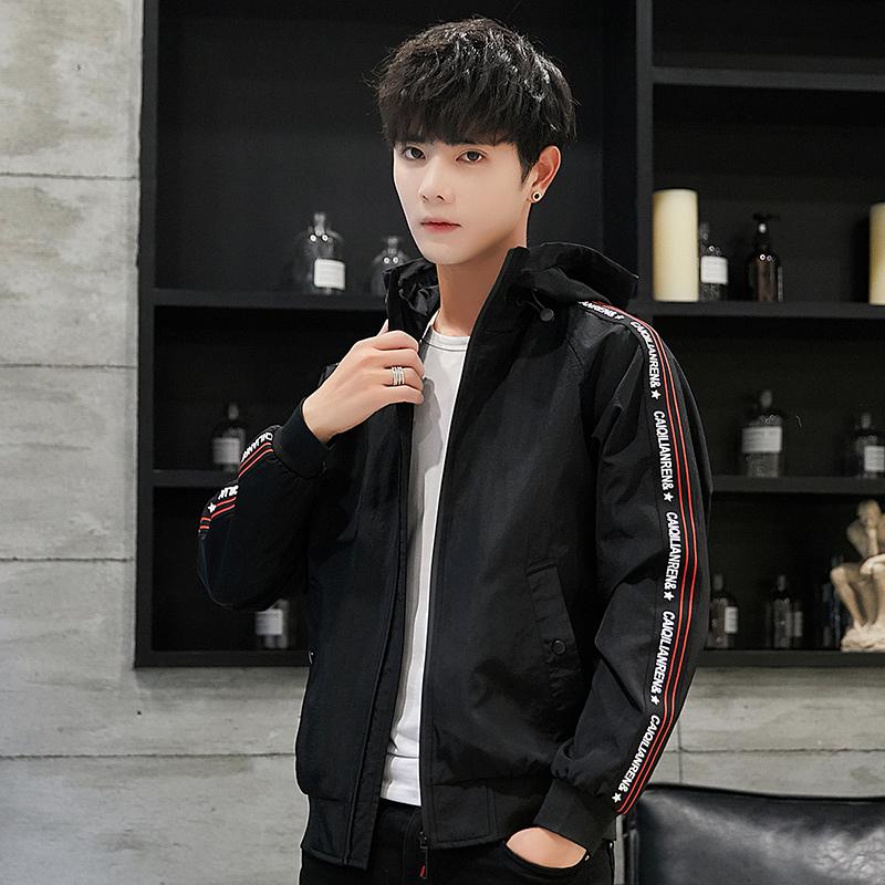 韩际帅气秋季男士薄款休闲夹克运动连帽青年男装韩版时尚潮外套