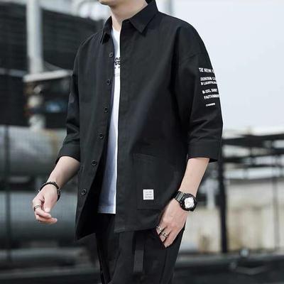 纯棉七分袖衬衫男士夏季薄款休闲衬衣学生工装短袖宽松外套潮