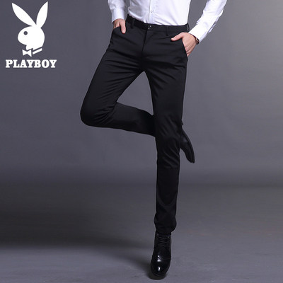Flower son casual pants men's spring thin straight trousers Korean version of the slim small foot pants business men's trousers