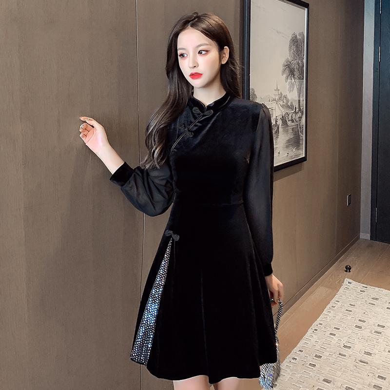 世肯中国风少女金丝绒改良版旗袍连衣裙