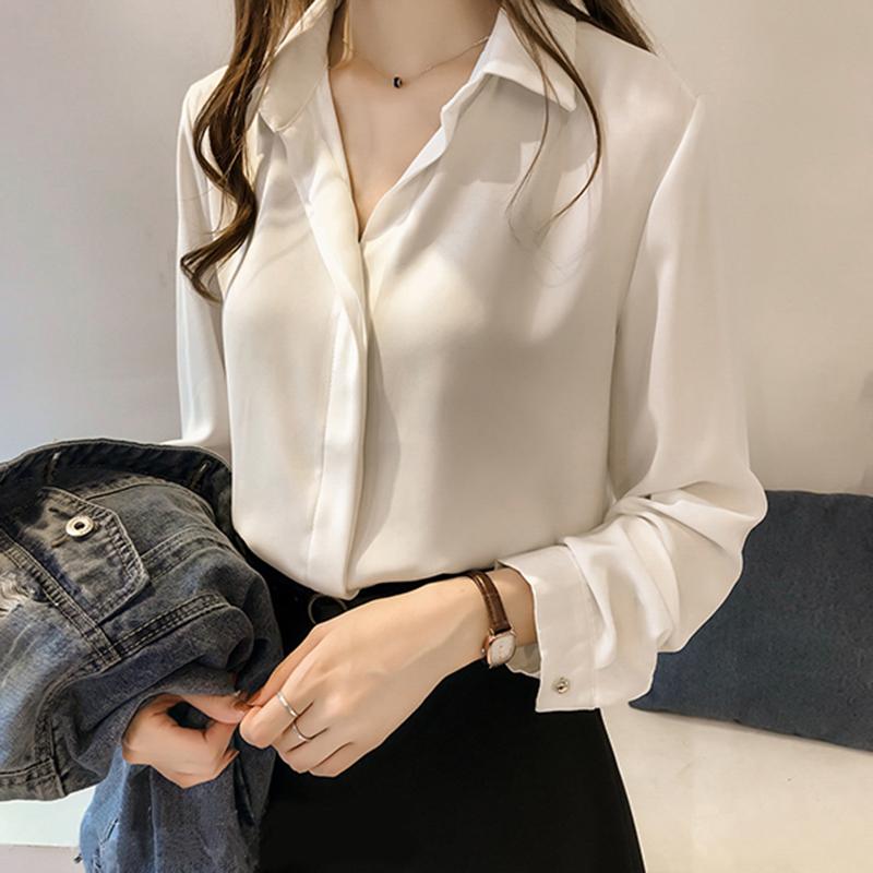 新款雪纺长袖衬衫女士2021春秋季大码显瘦OL职业套头衬衣t恤夏装