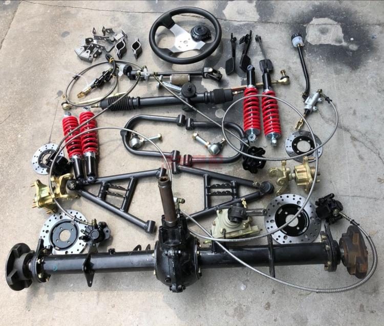 Homemade four-wheeled motorcycle kart accessories modified suspension  rocker differential shaft transmission rear axle disc brake steering machine