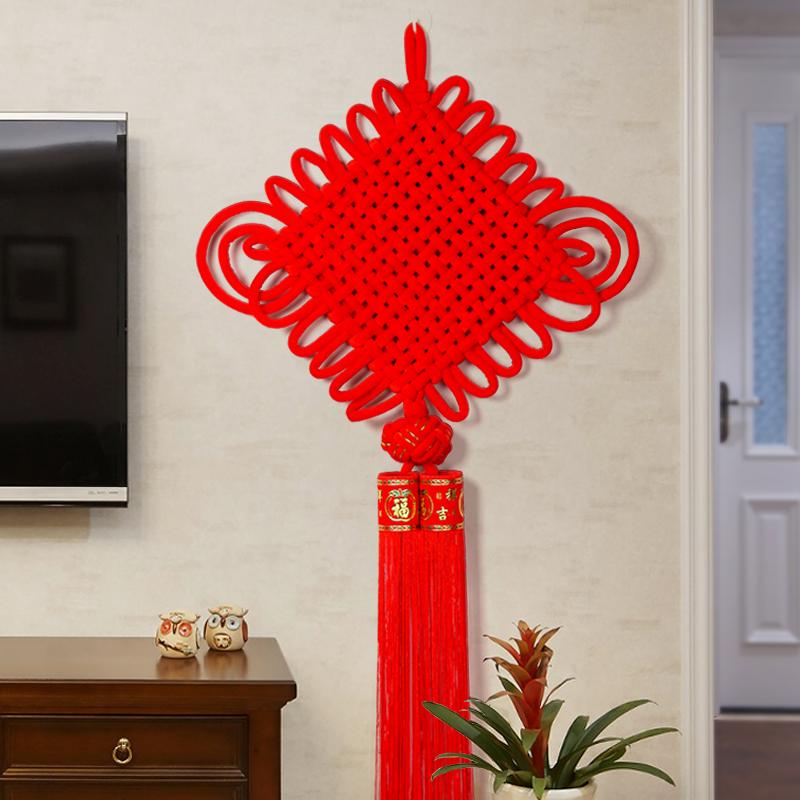 Подвеска китайского узла ручная работа Гостиная Фен-шуй большая новоселье на стене висит крыльцо домашнее украшение новый Дом на стене