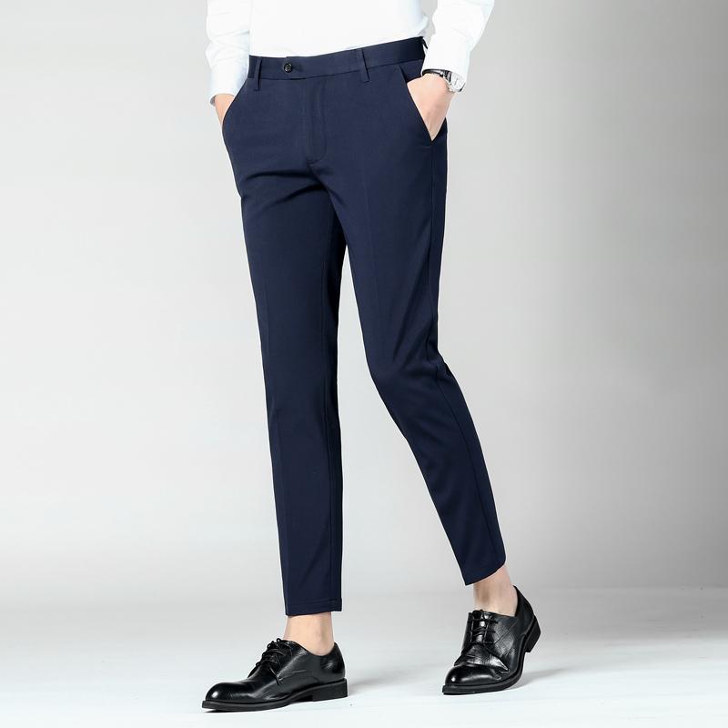 GXG Jmoon春夏男士小脚直筒商务休闲裤黑色修身裤子韩版长裤西裤