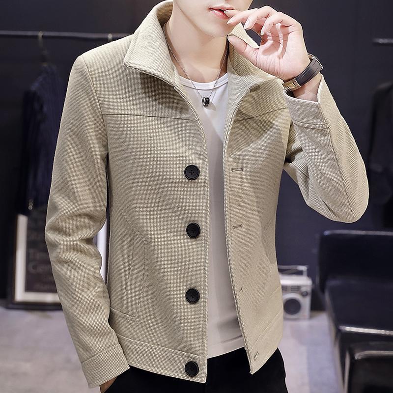 2020春秋季大衣青年外套男风衣修身小潮流尼毛呢翻领韩版男士短款