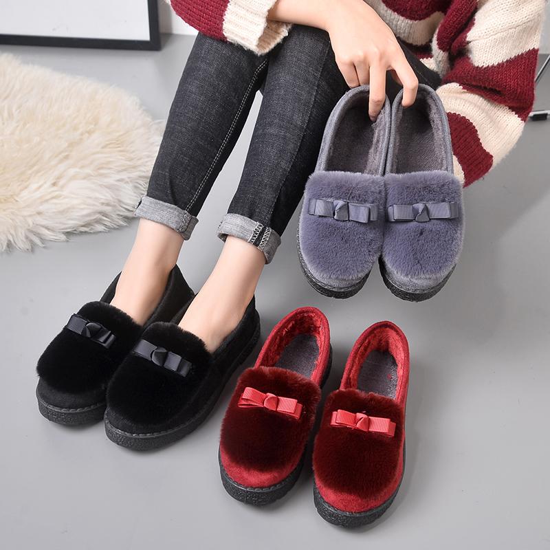 秋冬季保暖豆豆鞋棉鞋加绒韩版平底女鞋防滑孕妇一脚蹬女士毛毛鞋