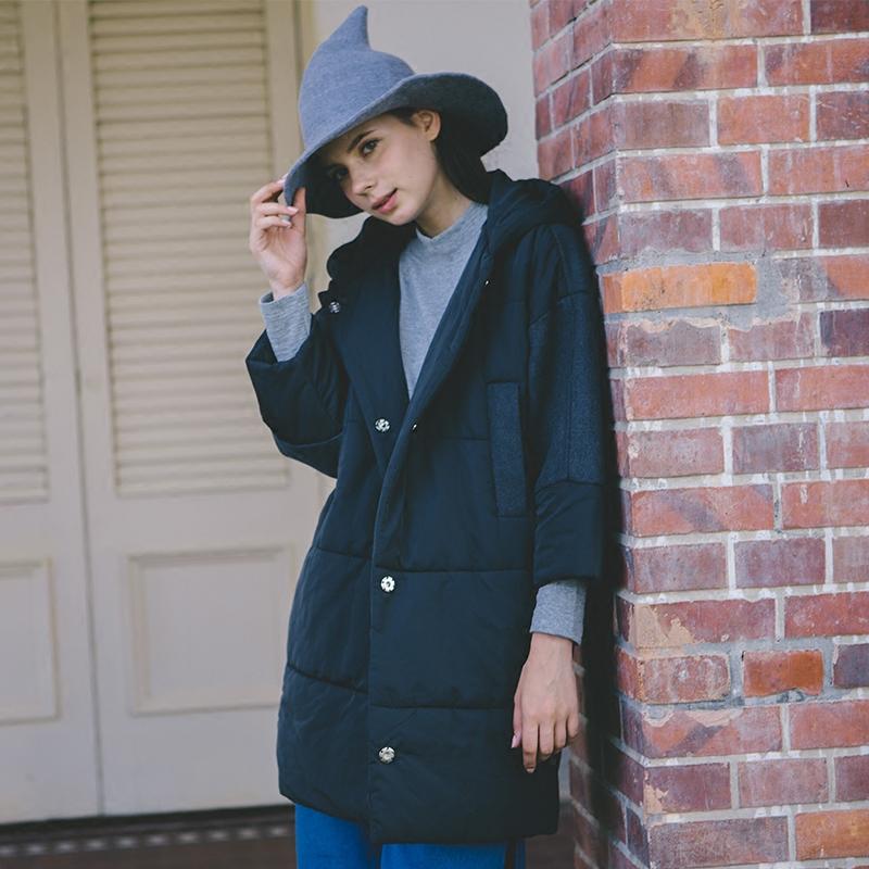 Quần áo phụ nữ LOEN màu đen chất liệu khâu tay áo ba lỗ bằng vải bông trùm đầu phong cách Nhật Bản FUDGE vui tươi - Bông