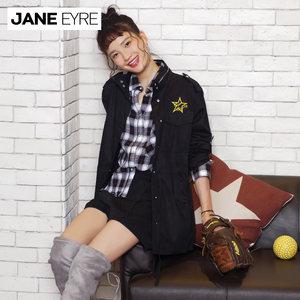 Jane Eyre2017冬季新款工装式长款外套女贴布绣立领拉链抽绳全棉