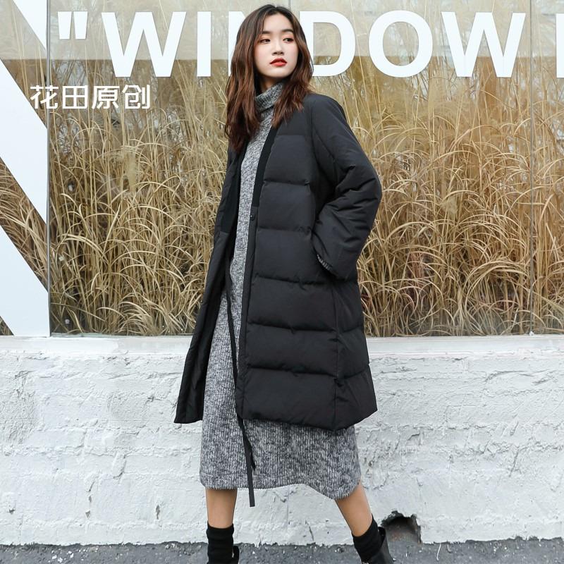 Cánh đồng hoa nguyên bản 2019 thu đông gió đông và mùa đông mới V-cổ tie-band áo khoác cotton rộng rãi áo khoác cotton dày - Bông