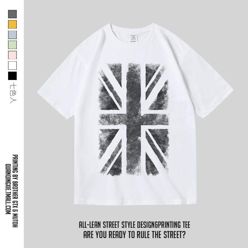 国潮潮牌印花纯棉短袖圆领半袖T恤男女国旗米字旗英国英伦衣服风