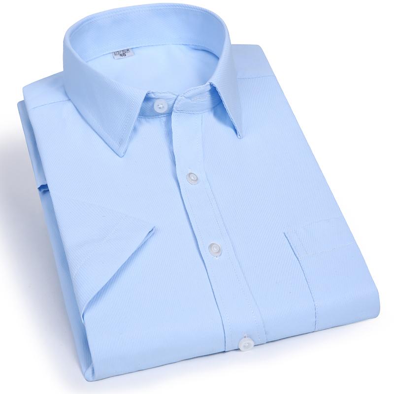 Dunyou mùa hè áo sơ mi trắng nam bán ngắn tay áo Hàn Quốc Slim màu rắn kinh doanh áo sơ mi dài tay kinh doanh dụng cụ chuyên nghiệp áo sơ mi xanh dương Áo