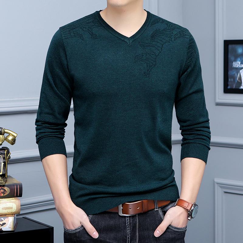春季韩版潮流薄款毛衣男青年男士纯色针织衫修身V领羊毛衫打底衫
