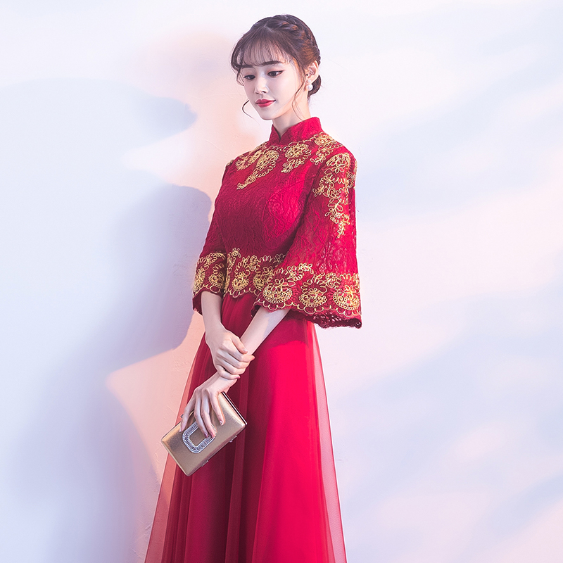 1d5d44e35 Toast clothing bride 2019 summer modern red cheongsam Chinese evening dress  female slim wedding clothes Chinese style