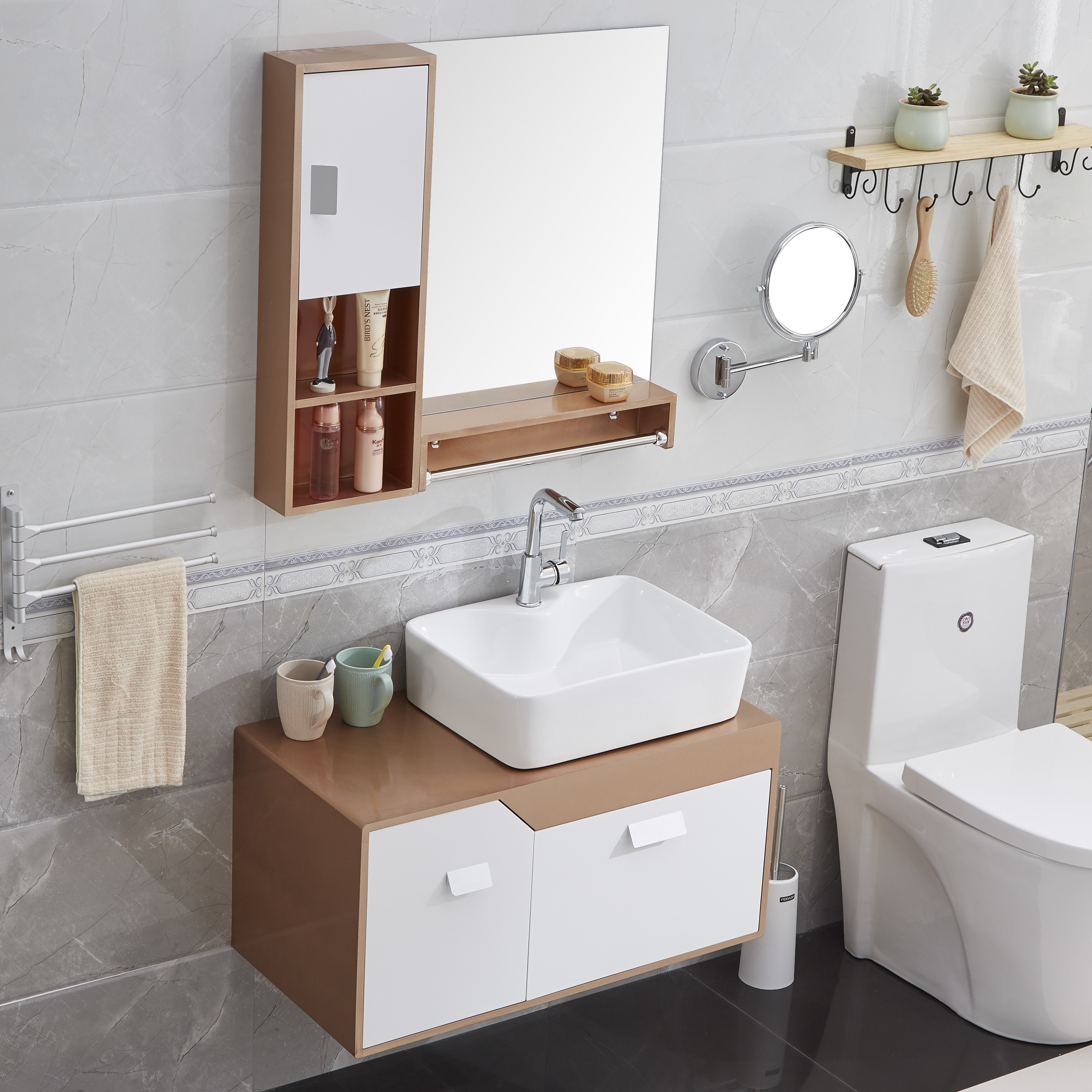 USD 104.39] Cheap and simple modern bathroom cabinet combination of ...