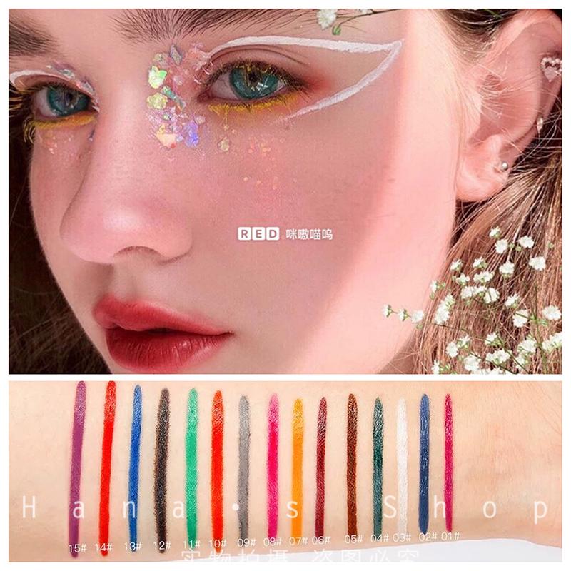 Bút kẻ mắt màu nhiều màu không thấm nước mờ không nhòe màu trắng vàng dễ tô màu và phát triển màu sắc trang điểm cos châu Âu và Mỹ - Bút kẻ mắt