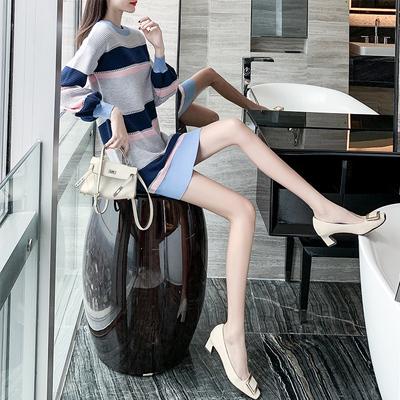 条纹针织连衣裙2019新款秋冬季女装毛衣155小个子显高显瘦短裙子