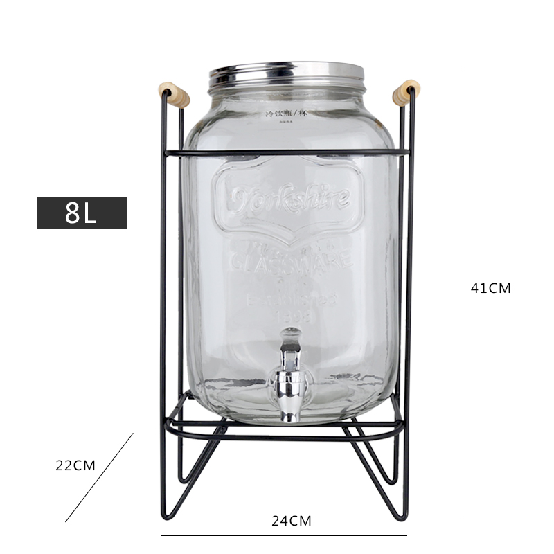 Iron frame with faucet glass jar 8L