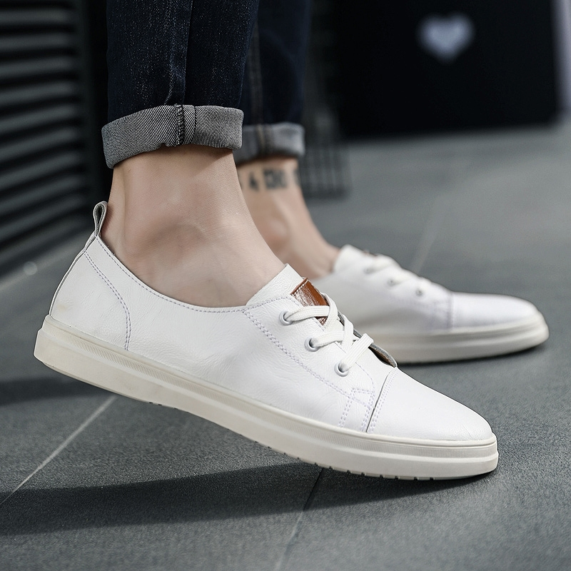 2019 spring new men s shoes leather white shoes male Korean version of the wild  breathable board 9f9a01cdebc9