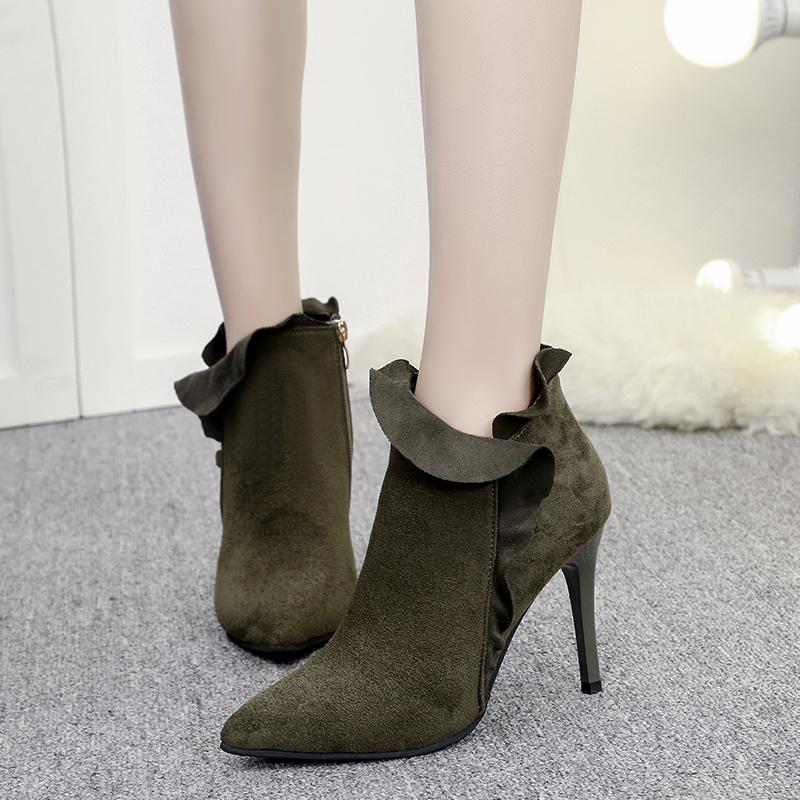 2018冬季新款欧美尖头细跟短靴高跟磨砂皮裸靴显瘦女鞋及踝靴女靴