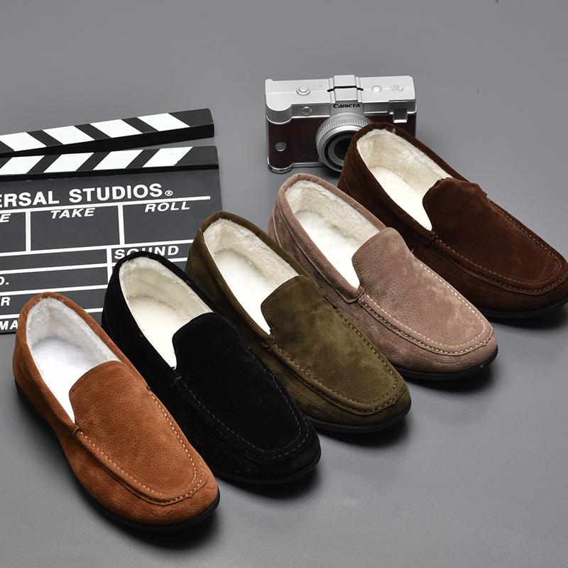 男士加绒保暖豆豆鞋毛毛鞋