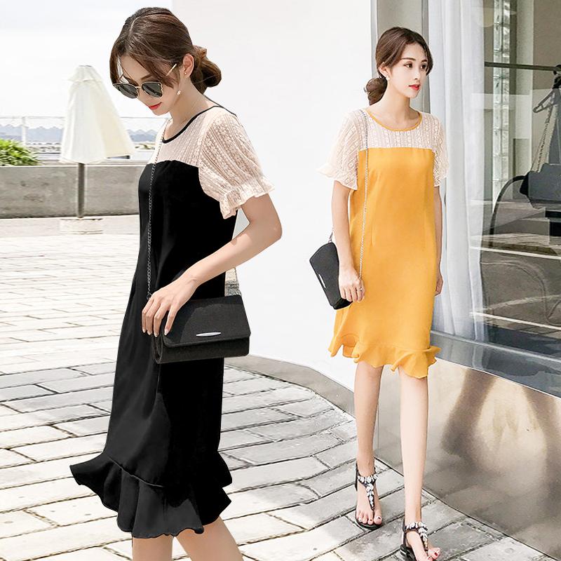 夏季新款雪纺蕾丝小心拼接机鱼尾宽松连衣裙女OL气质显瘦赫本裙