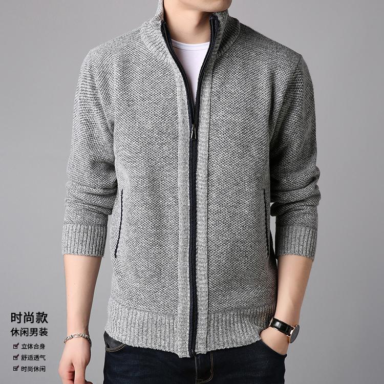 纯羊毛男士针织开衫羊毛衫 图2