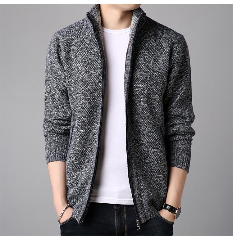 纯羊毛男士针织开衫羊毛衫 图8