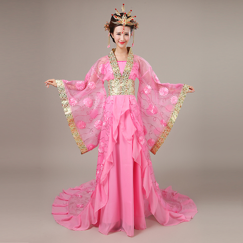 Chinese Folk Dance Dress Ancient costume Adult Fairy Princess Princess tailed Hanfu female Tang Dynasty Ru skirt portrait guzheng performance costume show
