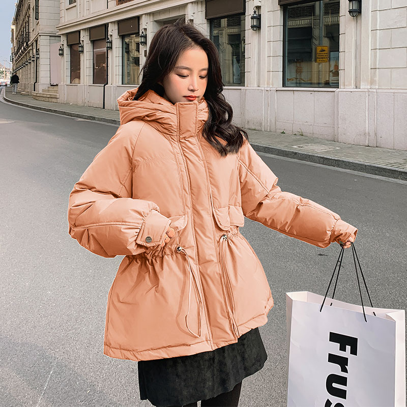 Orange down jacket women's middle-length draw rope waist small winter dress 2020 new white duck down mid-style jacket
