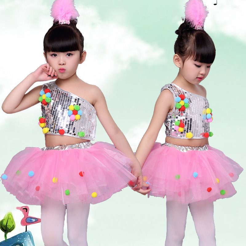 Girls Jazz Dance Costumes sequins Jazz Costume girls'Modern Jazz Dance Costume Pengpeng Skirt Costume