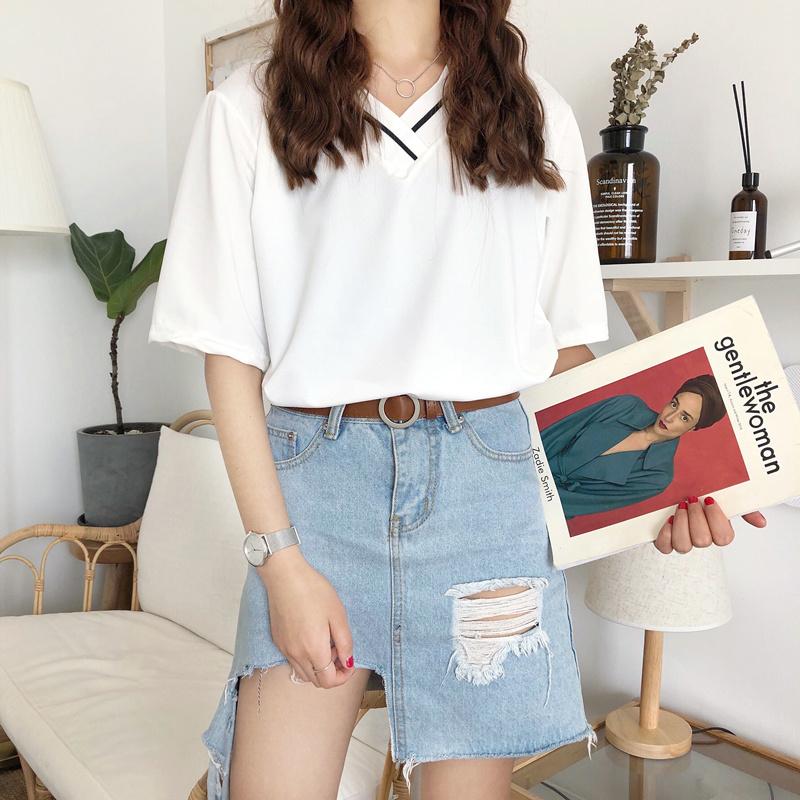 新款韩版白色V领T恤女短袖打底衫上衣