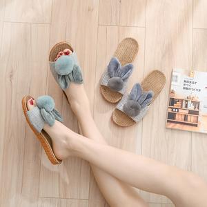 拖鞋女夏天卡通可爱居家室内房间布艺亚麻拖鞋软底母女亲子款