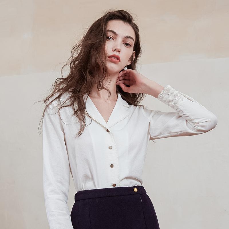 simpleretro法式白蕾丝衬衫v蕾丝感小众荷叶边轻熟复古上衣长袖女