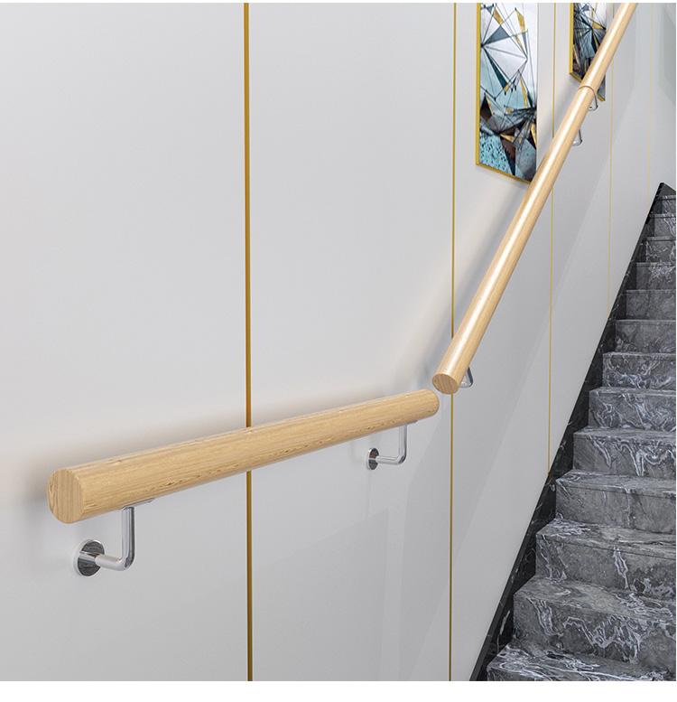 樓梯扶手 歐式樓梯扶手簡約現代實木家用防滑幼稚園養老院走廊別墅靠牆扶手免運  輕衣