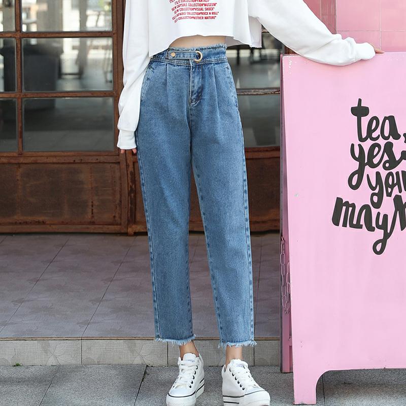 怪味少女裤直筒牛仔裤女春装2020款宽松韩版高腰阔腿学生chic裤子